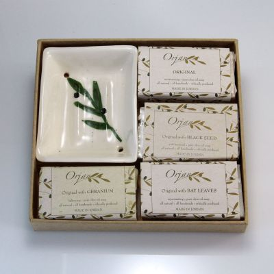 Natural olive oil herbal soaps 'Aroma Quartet 2' with dish