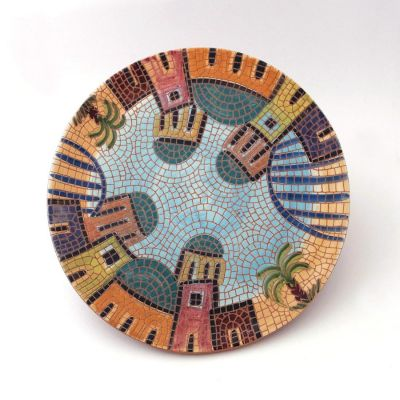 Handmade ceramic serving plate - village scene