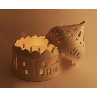 Domed candle holder with traditional village pattern - Large