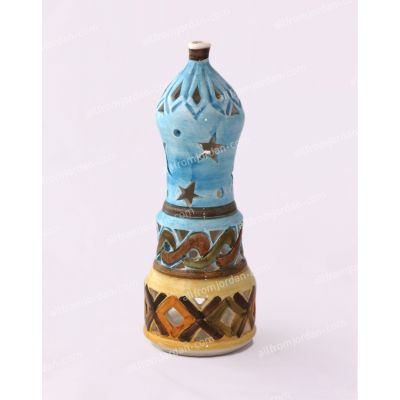 "Multi colored ""Minaret"" handmade ceramic candle holder"
