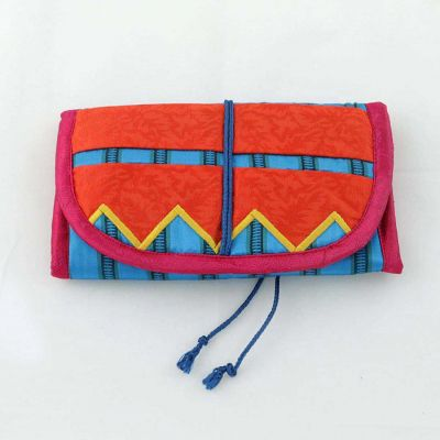 Embroidered hand made make-up or jewellery bag