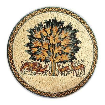 'Tree of Life' handmade natural stone mosaic inset - circular, unframed