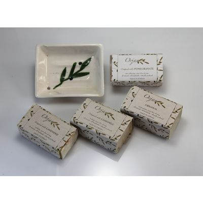 Natural olive oil herbal soaps 'Aroma Quartet 1' with dish