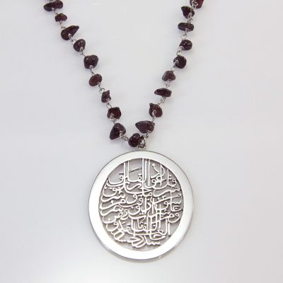 "Silver Pendant ""Al Falaq"" with precious stones necklace"