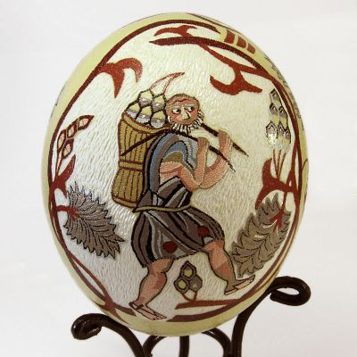 """Men of the Vineyard Ostrich Egg"" hand painted ostrich egg"