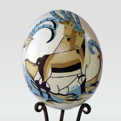 """Mountain Ibex"" hand painted ostrich egg"