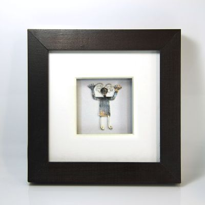 """Desert Woman"" silver figure in wooden box frame"