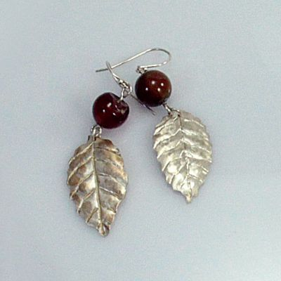 Silver berry leaf with red bead earrings