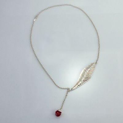 Silver necklace with oleander leaf