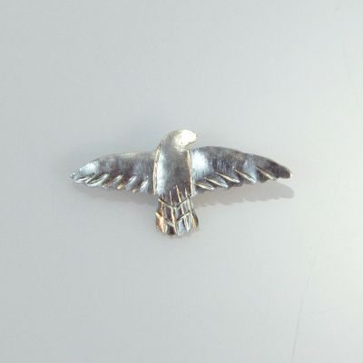 Small falcon hand made silver brooch
