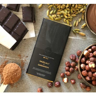 Herb + Design No 102 Hazelnut + Cardamom + Milk Chocolate  Bar 100g