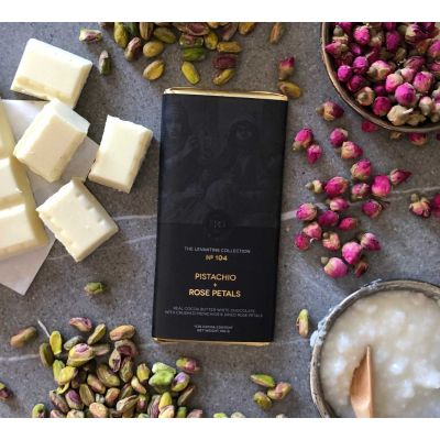 Herb + Design No 104  Pistachio + Rose Petals +  White Chocolate Bar 100g