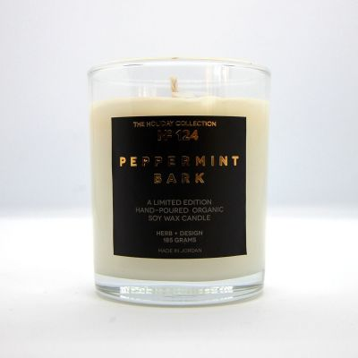 Herb + Design No 124  Peppermint Bark Candle In Glass Container