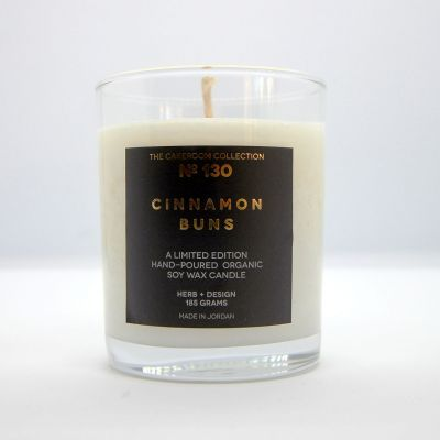 Herb + Design No 130  Cinnamon Buns Candle in Glass Container - Limited Edition