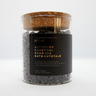 Herb + Design No 140 Activated Charcoal Dead Sea Bath Crystals In Glass Container