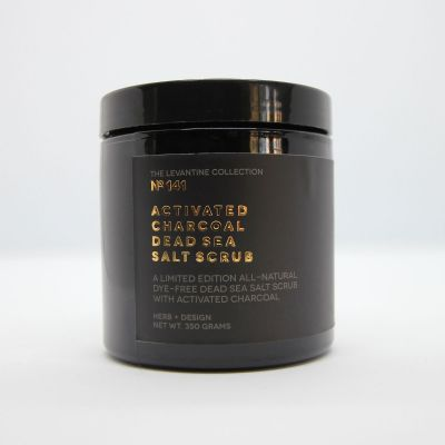 Herb + Design No 141 Activated Charcoal Dead Sea Salt Scrub in plastic container