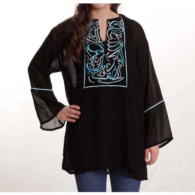 Black Chiffon blouse with embroidered Arabic poetry