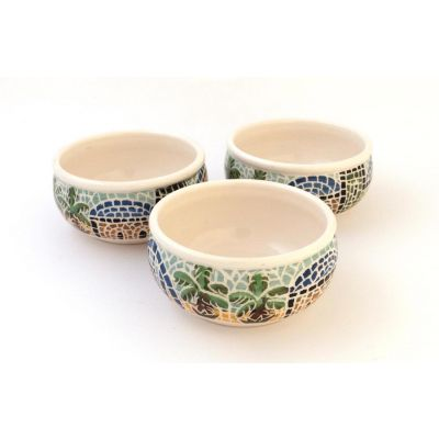 Handmade ceramic nuts bowl set (3pcs), traditional village with blue sky