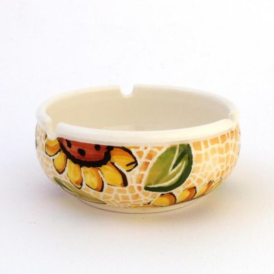 Handmade ceramic ashtray set (3pcs) sunflower