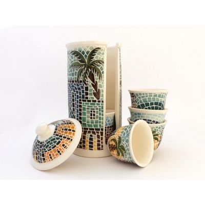 Handmade ceramic Arabic coffee cups & container set