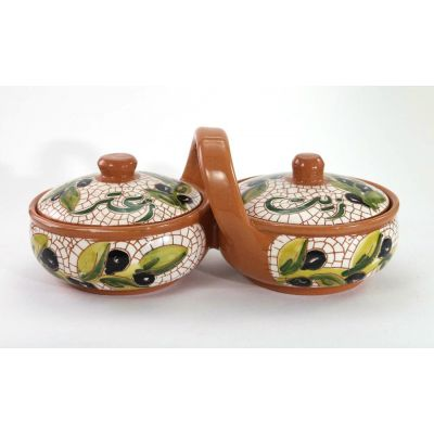 """Zeit o Zaatar"" (Olive oil & Oregano) handmade ceramic connected serving set"