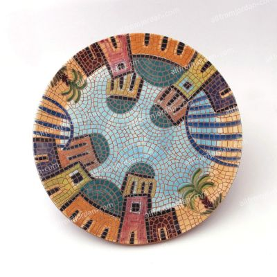 Handmade ceramic serving plate - village scene - Red