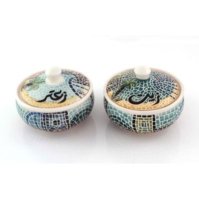 """Zeit o Zaatar"" (Olive oil & Oregano) handmade ceramic serving set"