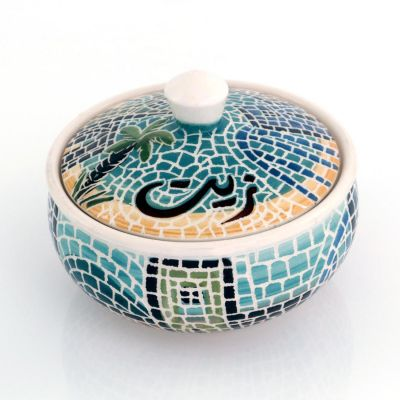Handmade ceramic serving bowl with customisable cover