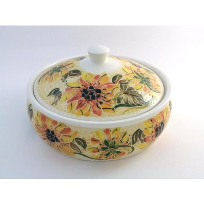 Handmade white ceramic serving bowl painted with sunflowers