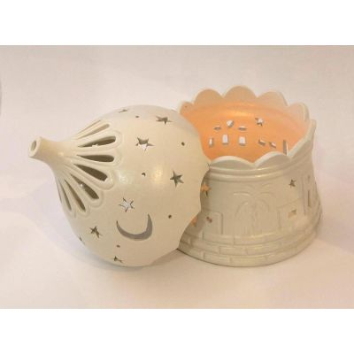 Domed candle holder with traditional village pattern - Small