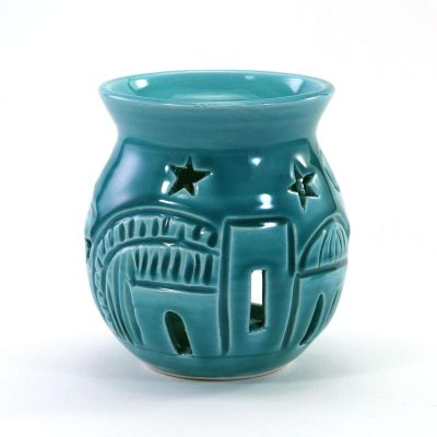 Rounded small turquoise ceramic incense burner