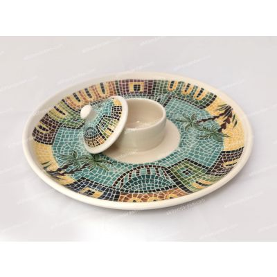 Large handmade ceramic serving plate with built-in bowl and cover - painted mosaic village scene