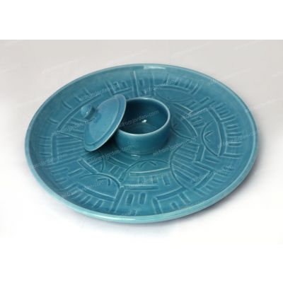 Large handmade ceramic serving plate with built-in bowl and cover - engraved village scene