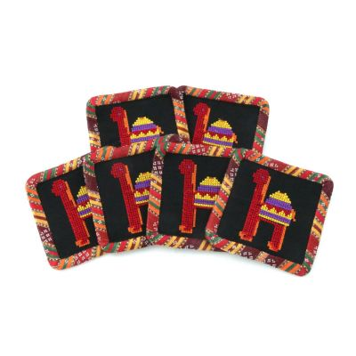 "Handmade embroidered square 6 pcs ""Camel"" coasters set, black and ""Saya"" fabric"