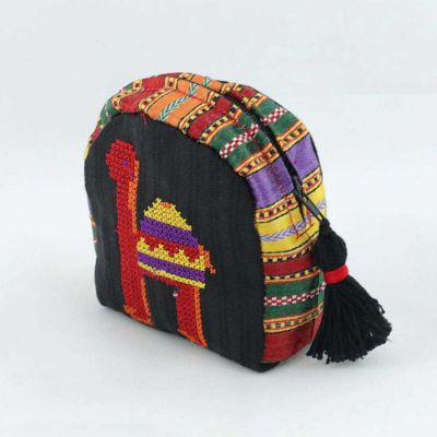 Embroidered purse with camel motif