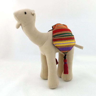 Stuffed Camel Doll - Small -  Beige Velvet with Red Saya saddle