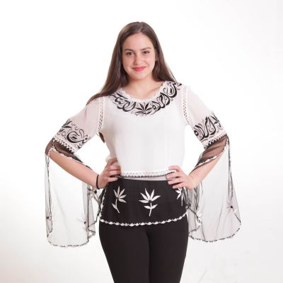 "Embroidered blouse ""Najafi"" calligraphy, white with black lettering"