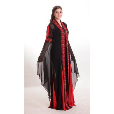 "Traditional embroidered black and red dress with ""Fallahi"" patterns"