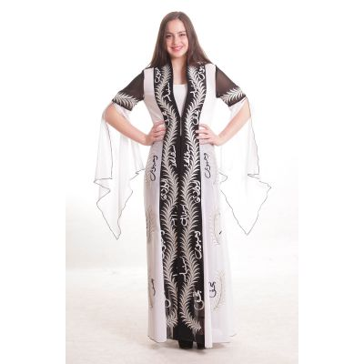 "Traditional embroidered ""Najafi"" black and white dress with Arabic calligraphy"