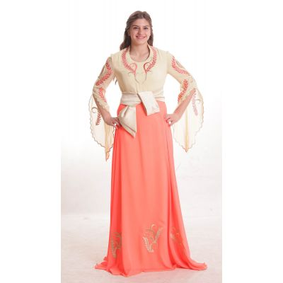 Embroidered peach and beige dress with sash