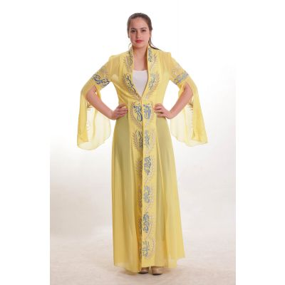 Embroidered Arabic poetry yellow dress
