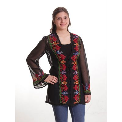 Traditional embroidered black and red blouse