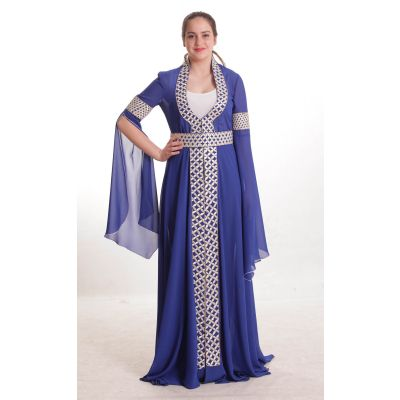 Blue dress with silver geometric embroidery