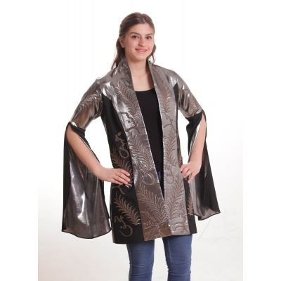 Black jacket with metallic silver embroidered with Arabic poetry
