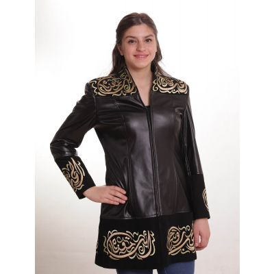 Black leather jacket embroidered with Arabic calligraphy