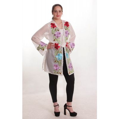 Embroidered blouse with colorful floral patterns
