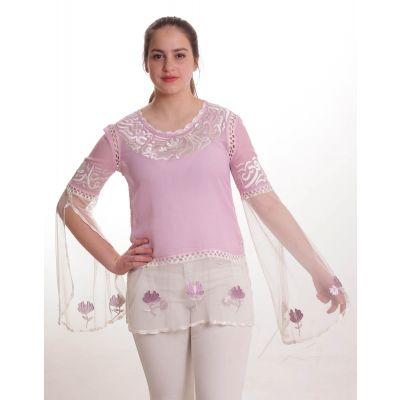 Cool pink blouse embroidered with sliver Arabic poetry