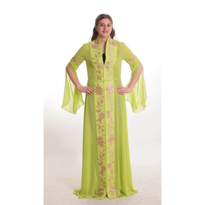 Pistachio green dress with golden floral embroidery