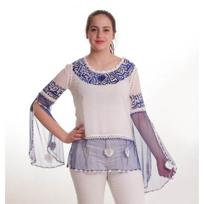 White blouse embroidered with blue Arabic poetry