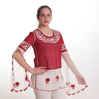Red blouse embroidered with Arabic poetry